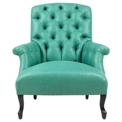 Pair of Green French Tufted Club Chairs