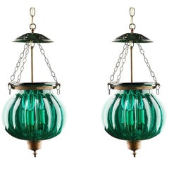 Pair of Green Glass Bell Jar Lanterns, India, circa 1900