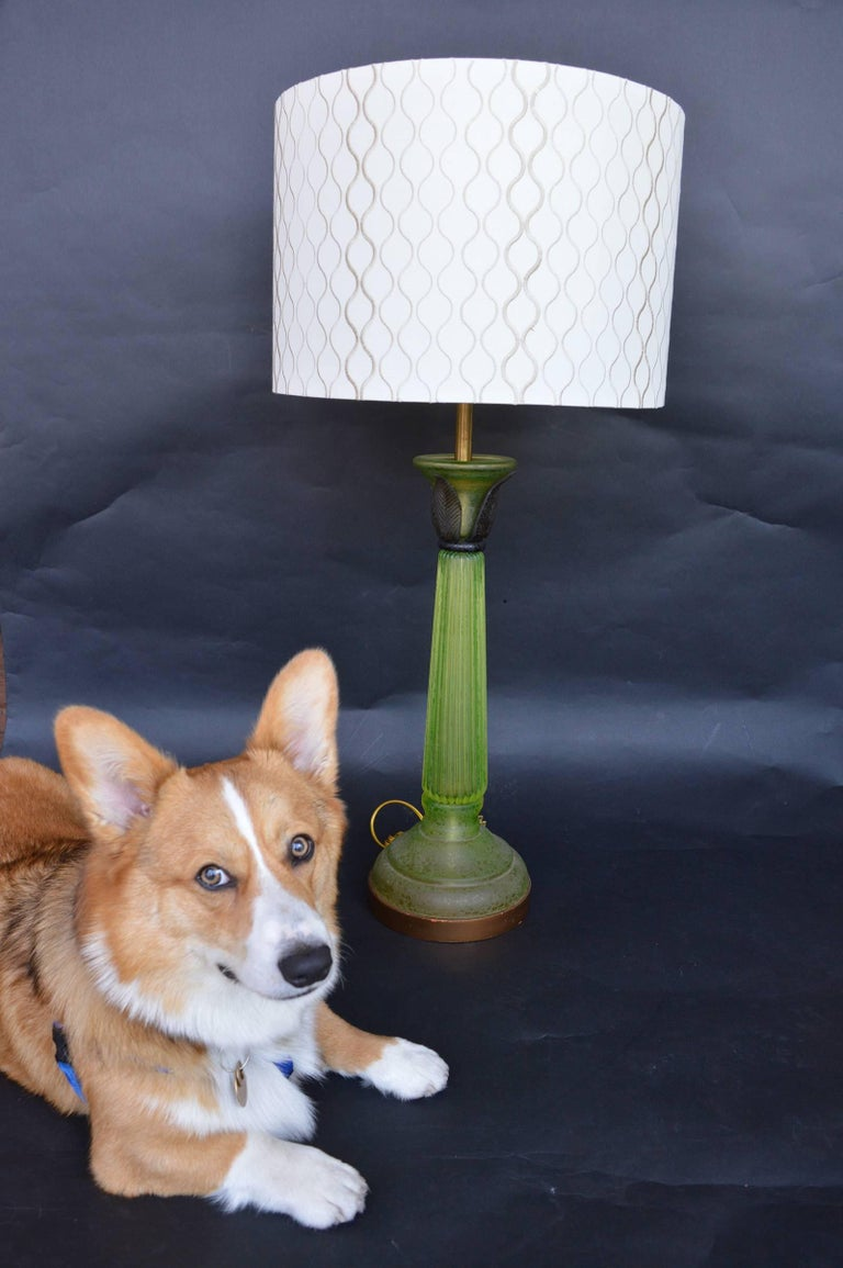 Pair of Green Glass Lamps in the Style of Daum For Sale 1