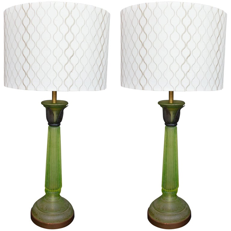 Pair of Green Glass Lamps in the Style of Daum For Sale