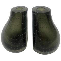 Pair of Green Glass Vases with Bubbles