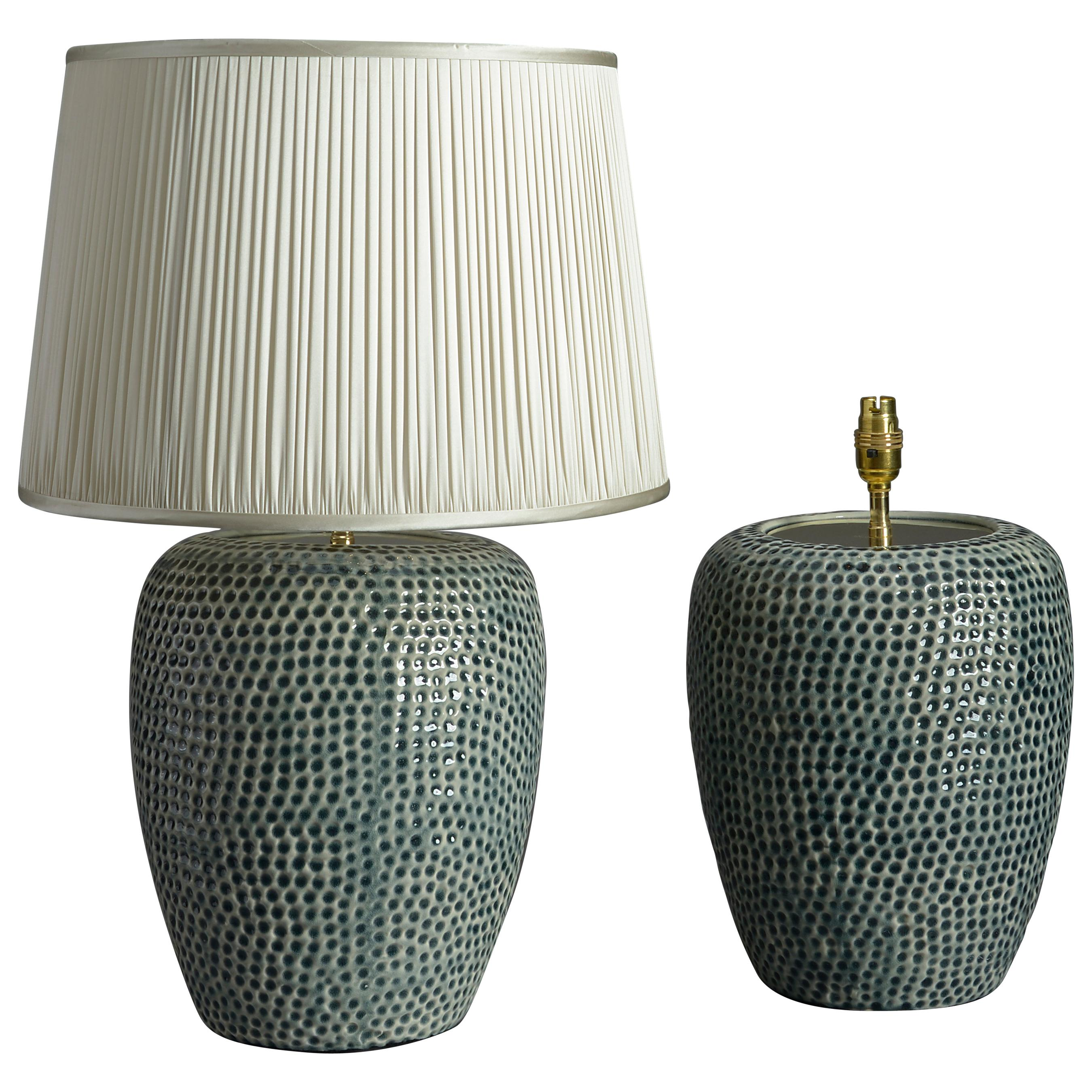 Pair of Green Glazed Ceramic Jar Lamps