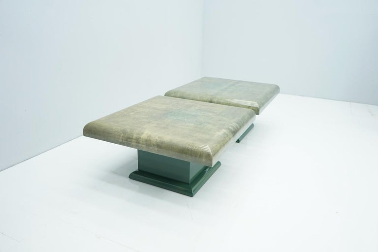 Pair of Green Goatskin Side Tables by Aldo Tura, Italy, 1980s For Sale 5