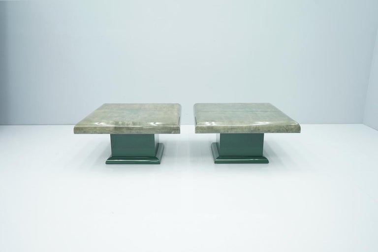 Nice pair of green Goatskin side tables by Aldo Tura Italy. This tables was purchased in the late 1980s. The tables are in a very good condition without any damages.