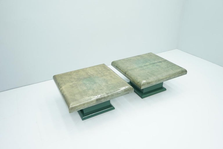 Hollywood Regency Pair of Green Goatskin Side Tables by Aldo Tura, Italy, 1980s For Sale