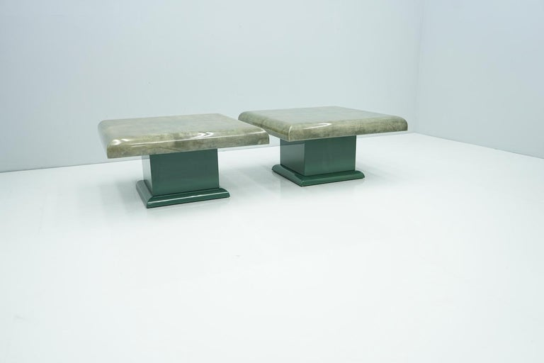 Italian Pair of Green Goatskin Side Tables by Aldo Tura, Italy, 1980s For Sale