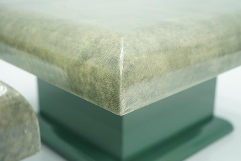 Pair of Green Goatskin Side Tables by Aldo Tura, Italy, 1980s For Sale 1
