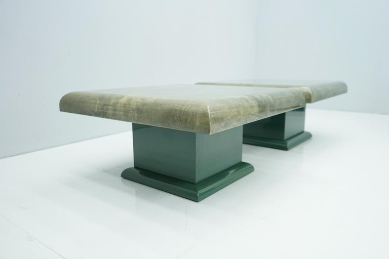 Pair of Green Goatskin Side Tables by Aldo Tura, Italy, 1980s For Sale 2