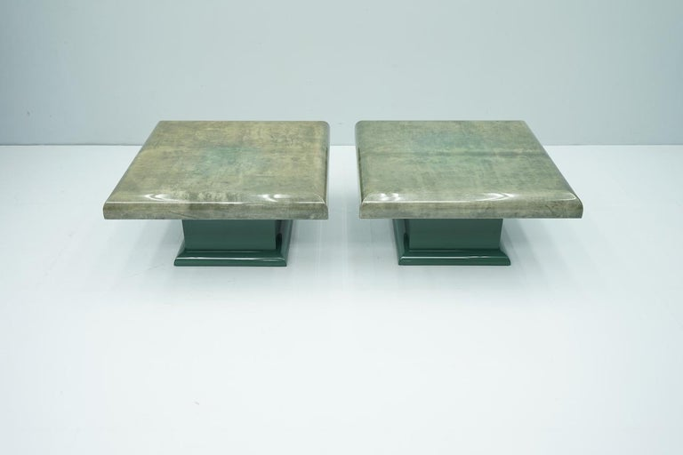 Pair of Green Goatskin Side Tables by Aldo Tura, Italy, 1980s For Sale 3