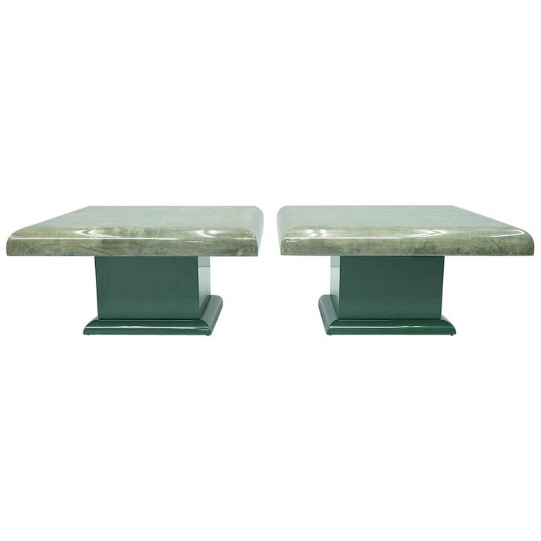 Pair of Green Goatskin Side Tables by Aldo Tura, Italy, 1980s For Sale