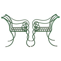 Pair of Green Heavy Wrought Iron Klismos Style Garden Armchairs, France, 1920s
