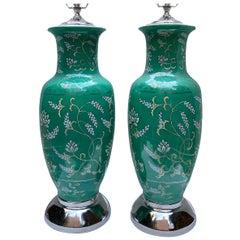 Pair of Green Italian Porcelain Lamps