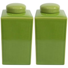 Pair of Green Jars with Lids
