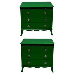 Pair of Green Lacquered Chests in the Manner of Dorothy Draper