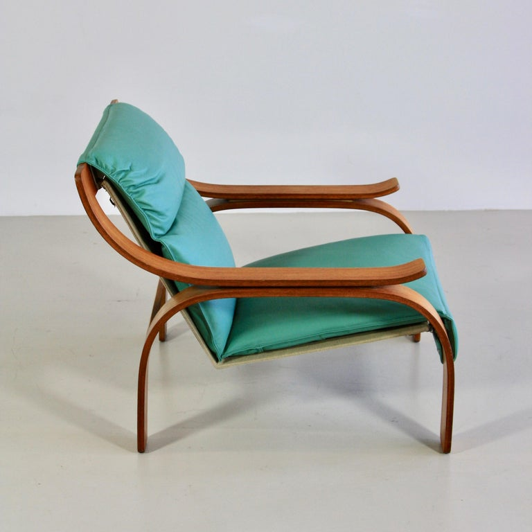 Modern Pair of Green Leather Armchairs by Marco Zanuso, 1964 For Sale