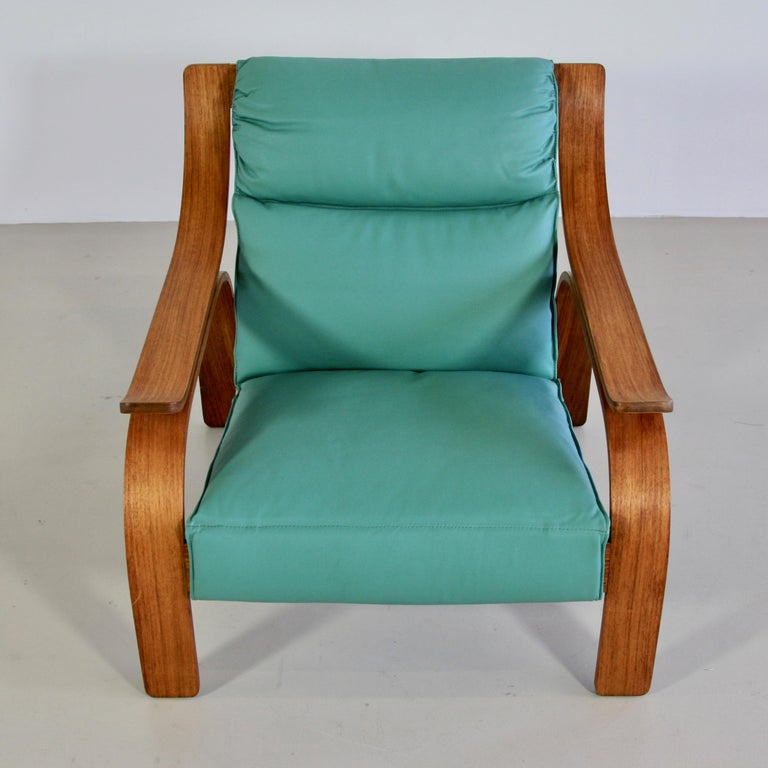 Italian Pair of Green Leather Armchairs by Marco Zanuso, 1964 For Sale