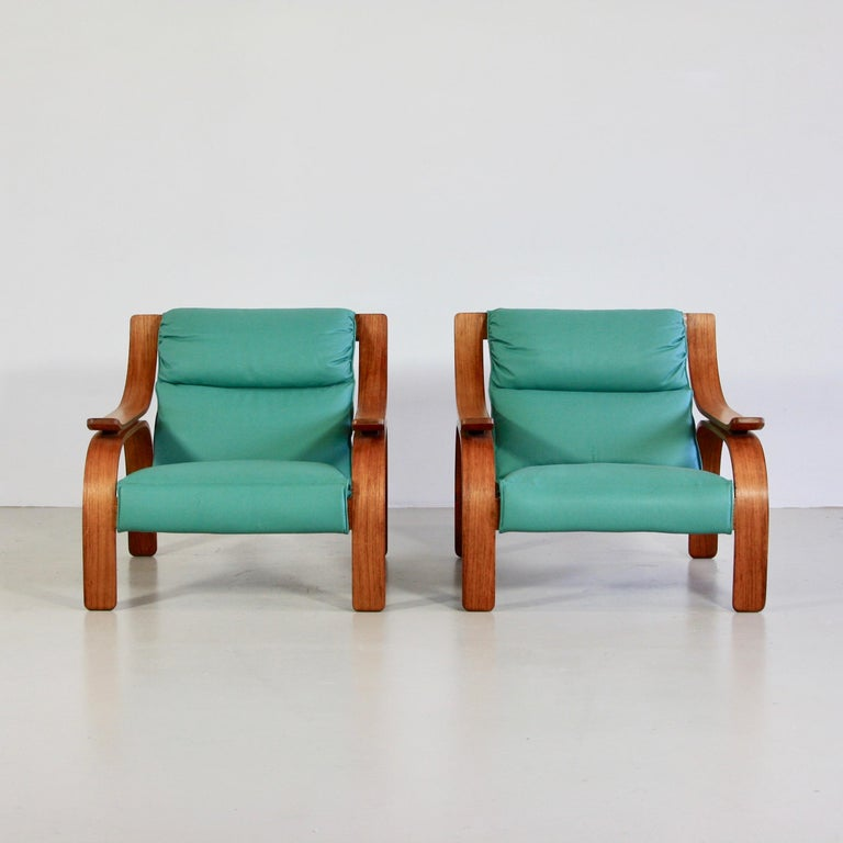 Mid-20th Century Pair of Green Leather Armchairs by Marco Zanuso, 1964 For Sale