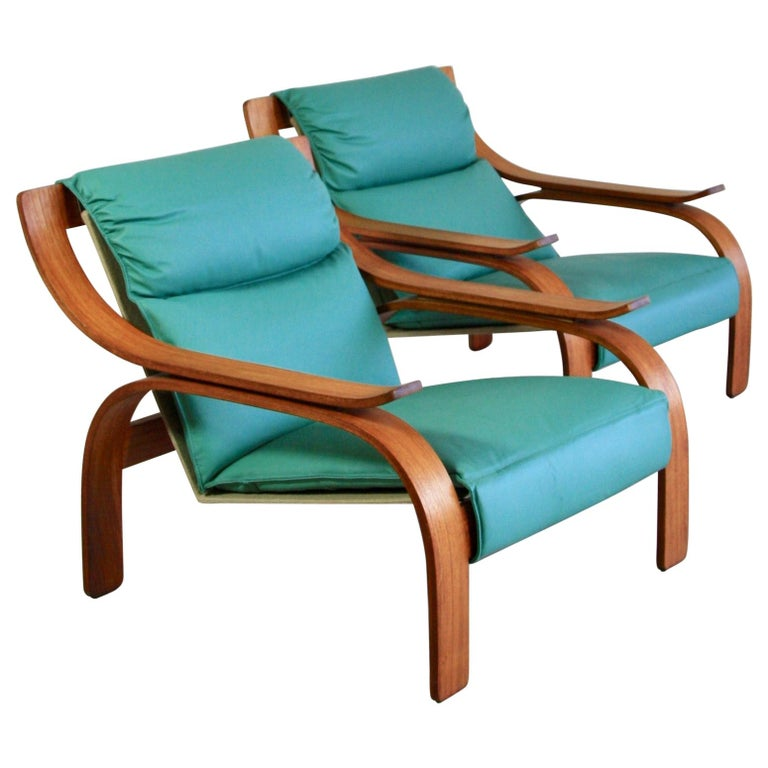 Pair of Green Leather Armchairs by Marco Zanuso, 1964 For Sale
