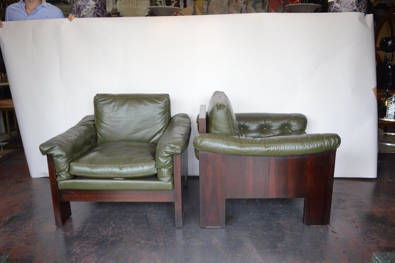 Pair of Green Leather Armchairs Milo Baughman for Thayer Coggin.