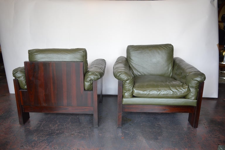 American Pair of Green Leather Armchairs Milo Baughman for Thayer Coggin For Sale