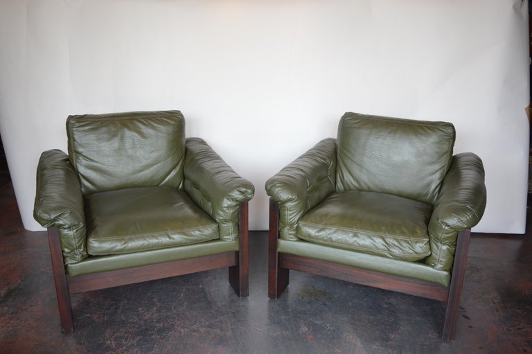 20th Century Pair of Green Leather Armchairs Milo Baughman for Thayer Coggin For Sale