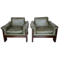 Pair of Green Leather Armchairs Milo Baughman for Thayer Coggin