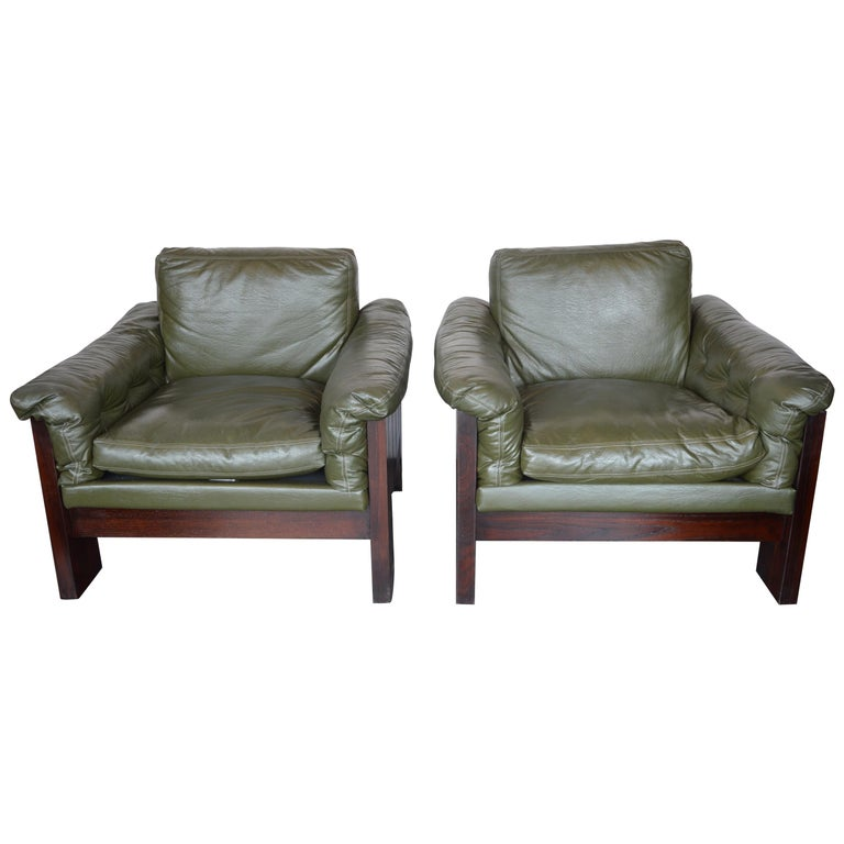 Pair of Green Leather Armchairs Milo Baughman for Thayer Coggin For Sale