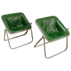 Pair of Green Leather Folding Plona Chairs