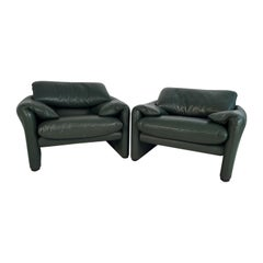 Pair of Green Leather 'Maralunga' Lounge Chairs by Magistretti for Cassina