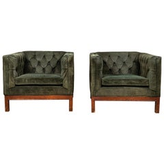Pair of Green Leather Tufted Club Chairs