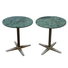 Pair Of Green Marble And Chrome Side Tables