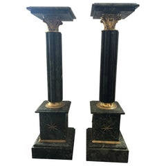 Pair of Green Marble Pedestals