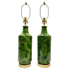 Pair of Green Mid Century Ceramic Lamps
