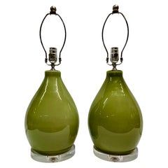 Pair of Green Mid Century Porcelain Table Lamps