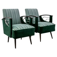 Pair of Green Mid-Century Modern Armchairs from 1970s, After Renovation