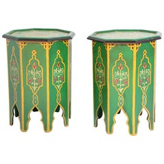 Pair of Green Moroccan Hand Painted Pedestal Tables
