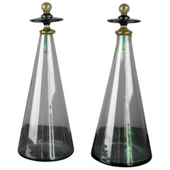 Pair of Green Murano Glass Bottles with Stoppers made in the Cristalleria Santi