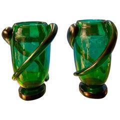 Pair of Green Murano Glass Hand Blown Iridescent Vases by Costantini, 1980s