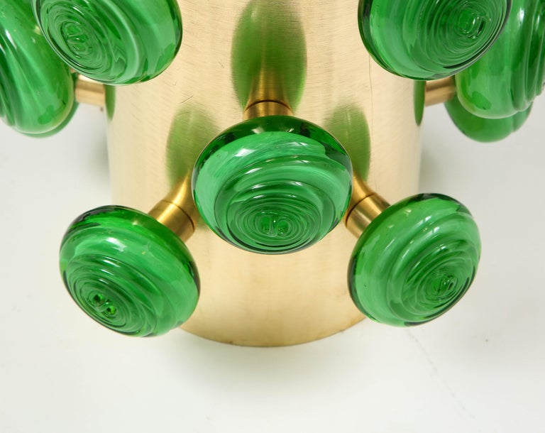 Pair of Green Murano Glass Knobs and Brass Cylinder Sculptural Lamps, Italy 2021 For Sale 5
