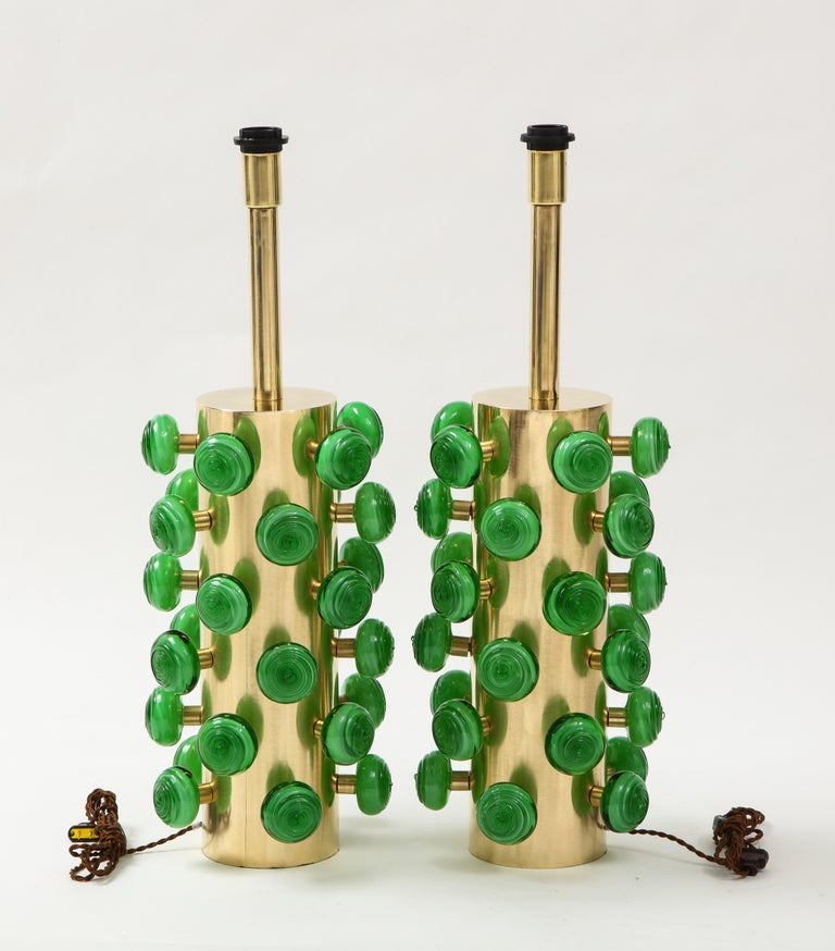 Pair of Green Murano Glass Knobs and Brass Cylinder Sculptural Lamps, Italy 2021 For Sale 6