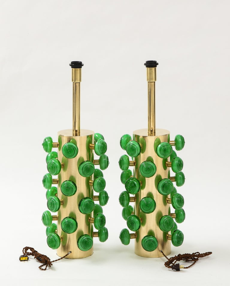 Pair of Green Murano Glass Knobs and Brass Cylinder Sculptural Lamps, Italy 2021 For Sale 7