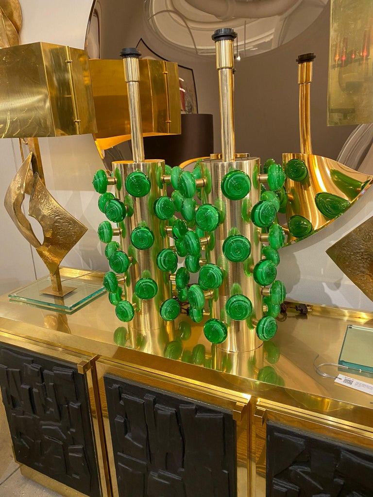 Pair of Green Murano Glass Knobs and Brass Cylinder Sculptural Lamps, Italy 2021 For Sale 9
