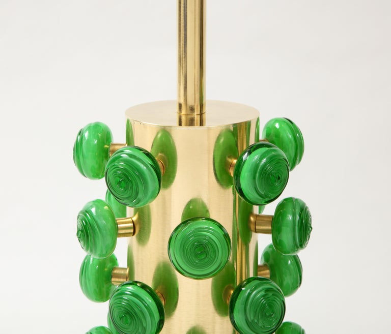 Italian Pair of Green Murano Glass Knobs and Brass Cylinder Sculptural Lamps, Italy 2021 For Sale