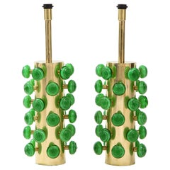 Pair of Green Murano Glass Knobs and Brass Cylinder Sculptural Lamps, Italy 2021