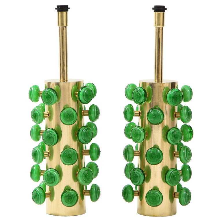 Pair of Green Murano Glass Knobs and Brass Cylinder Sculptural Lamps, Italy 2021 For Sale