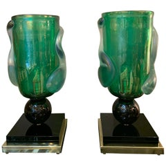 Pair of Green Murano Glass Table Lamps Signed by Costantini Murano, 1980s