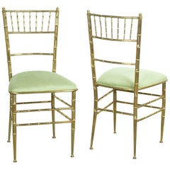 Pair of Green New Velvet / Velour and Brass Chiavari Faux Bamboo Style Chairs