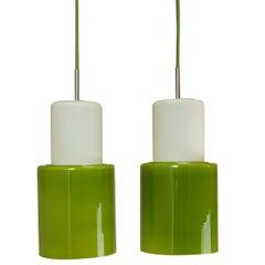 Pair of Green Opaline Glass Danish Ceiling Pendant Lights, Retro 1960s MCM