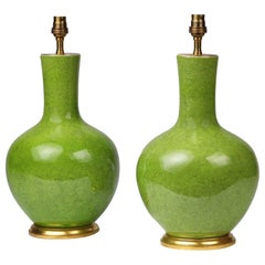 Pair of Green Porcelain Craquelure Straight Necked Vase Table Lamps