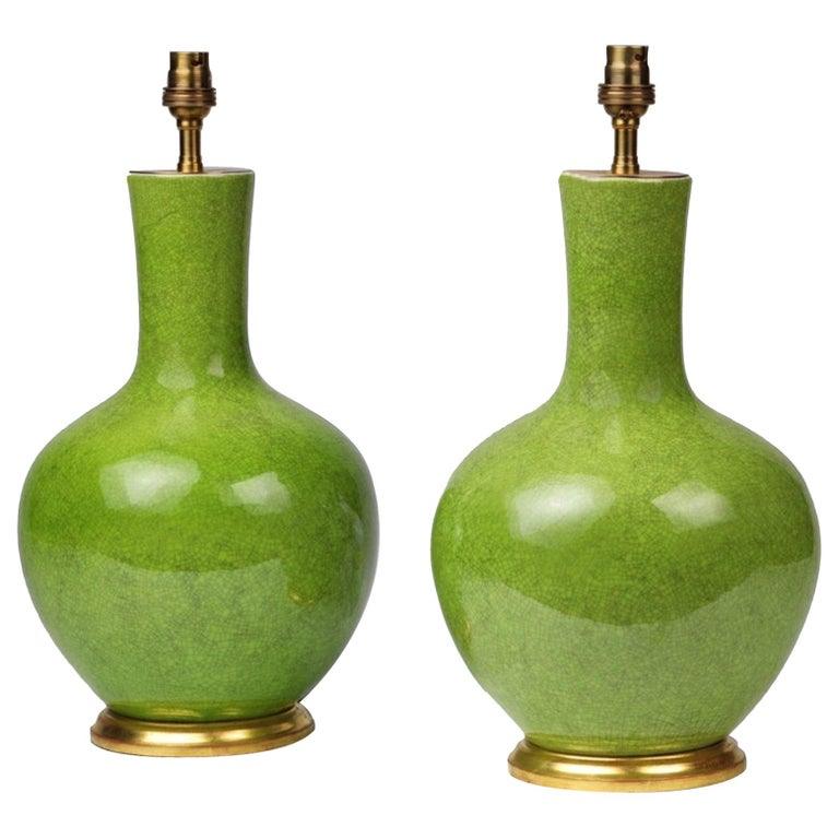 Pair of Green Porcelain Craquelure Straight Necked Vase Table Lamps For Sale